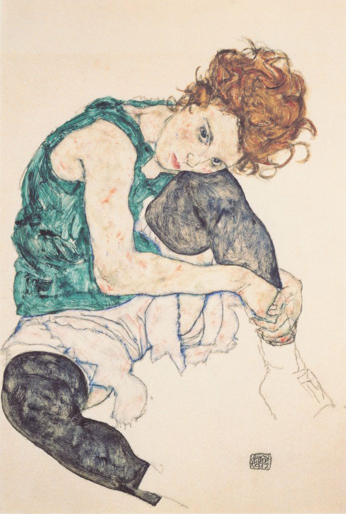 schiele_sitting_woman_with_legs_drawn_up
